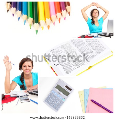 Education collage with girl ana office tools - stock photo