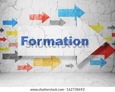 Education concept:  arrow whis Formation on grunge textured concrete wall background, 3d render - stock photo