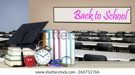 education concept: book and classroom for back to school  - stock photo