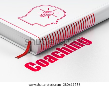 Education concept: book Head With Lightbulb, Coaching on white background - stock photo