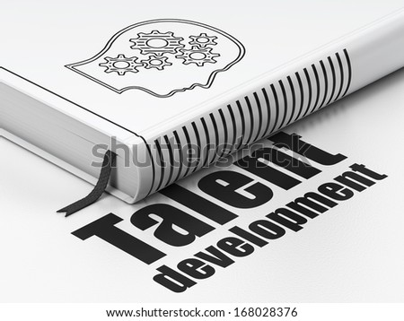 Education concept: closed book with Black Head With Gears icon and text Talent Development on floor, white background, 3d render - stock photo