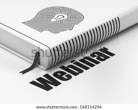Education concept: closed book with Black Head With Light Bulb icon and text Webinar on floor, white background, 3d render