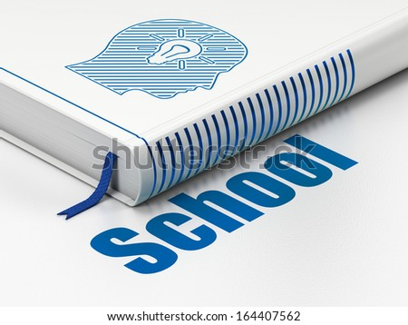 Education concept: closed book with Blue Head With Light Bulb icon and text School on floor, white background, 3d render