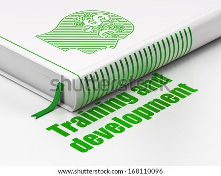 Education concept: closed book with Green Head With Finance Symbol icon and text Training and Development on floor, white background, 3d render - stock photo