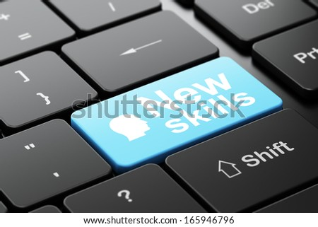Education concept: computer keyboard with Head icon and word New Skills, selected focus on enter button, 3d render - stock photo