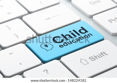 Education concept: computer keyboard with Head With Lightbulb icon and word Child Education, selected focus on enter button, 3d render - stock photo