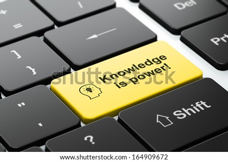 Education concept: computer keyboard with Head With Lightbulb icon and word Knowledge Is power!, selected focus on enter button, 3d render