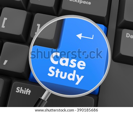 Education concept: computer keyboard with word Case Study, selected focus on enter button background, 3d render