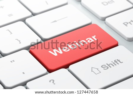 Education concept: computer keyboard with word Webinar, selected focus on enter button, 3d render