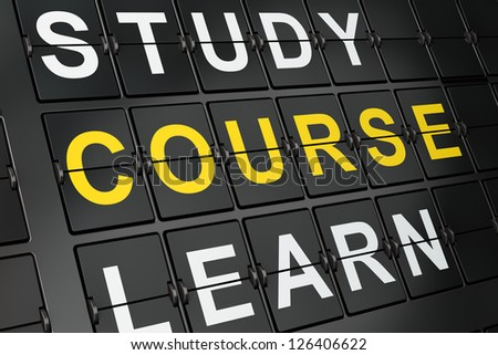 Education concept: Course on airport board background, 3d render - stock photo