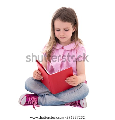 education concept - cute little girl with book isolated on white background - stock photo