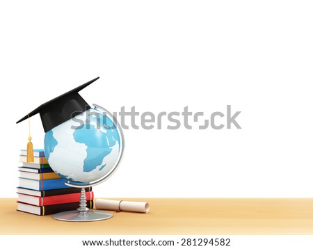 Education Concept. Desk Globe with Graduation Cap, Diploma and Books on a School Desk isolated on white background (Elements of this image furnished by NASA) - stock photo