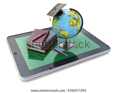 Education concept. E-learning. Globe and stack of books on digital tablet in the design of information related to education. 3d illustration - stock photo