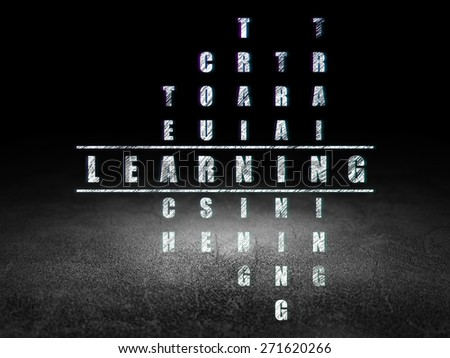 Education concept: Glowing word Learning in solving Crossword Puzzle in grunge dark room with Dirty Floor, black background, 3d render - stock photo