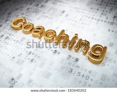Education concept: Golden Coaching on digital background, 3d render