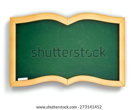 Education concept. Green blackboard in book shape. 3d - stock photo