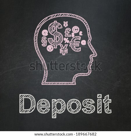 Education concept: Head With Finance Symbol icon and text Deposit on Black chalkboard background, 3d render