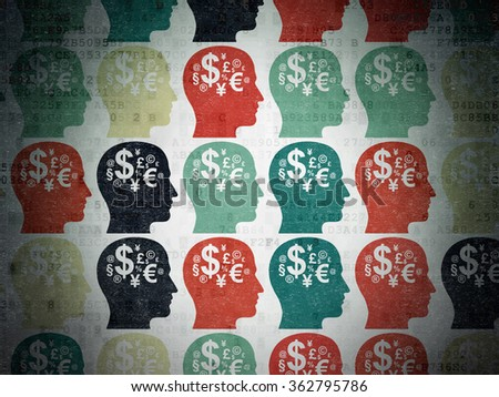 Education concept: Head With Finance Symbol icons on Digital Paper background