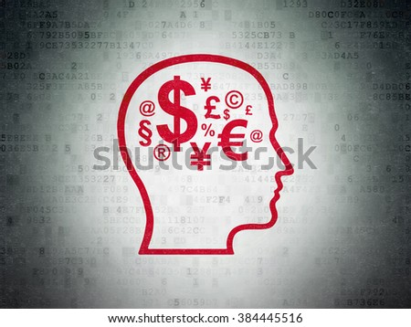 Education concept: Head With Finance Symbol on Digital Paper background
