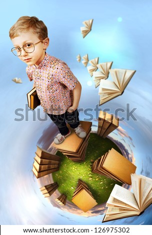 Education concept image. Clever boy standing on stack of books at the green planet