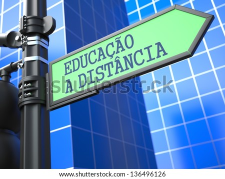 Education Concept. Inscription Distance Learning on Sign (Portuguese) on Blue Background. - stock photo