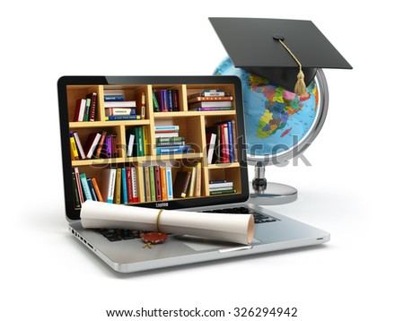 Education concept. Laptop with books, globe, graduation cap and diploma. 3d - stock photo
