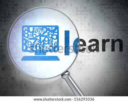 Education concept: magnifying optical glass with Computer Pc icon and Learn word on digital background, 3d render - stock photo