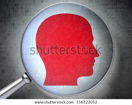 Education concept: magnifying optical glass with Head icon on digital background, 3d render