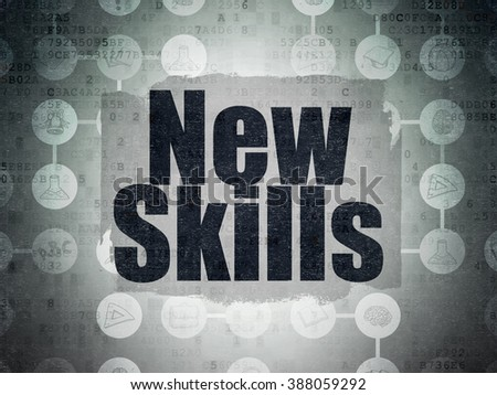 Education concept: New Skills on Digital Paper background - stock photo