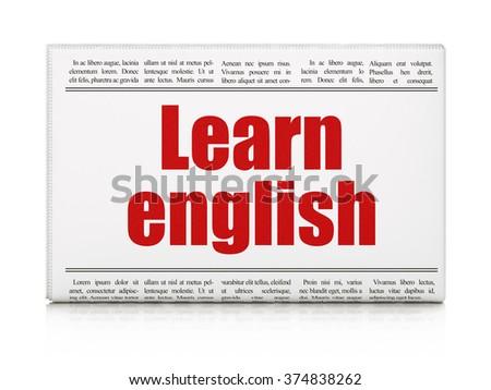 Education concept: newspaper headline Learn English - stock photo