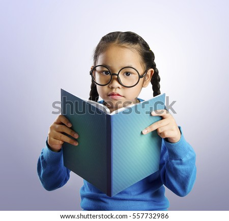 Cute Asian Little Girl Blue Sweater Stock Photo 554815969 ...