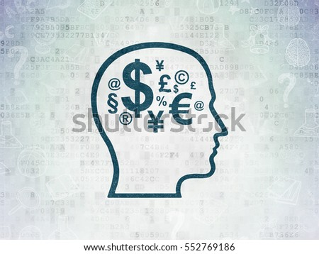 Education concept: Painted blue Head With Finance Symbol icon on Digital Data Paper background with  Hand Drawn Education Icons