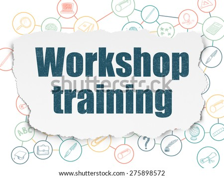 Education concept: Painted blue text Workshop Training on Torn Paper background with Scheme Of Hand Drawn Education Icons, 3d render - stock photo