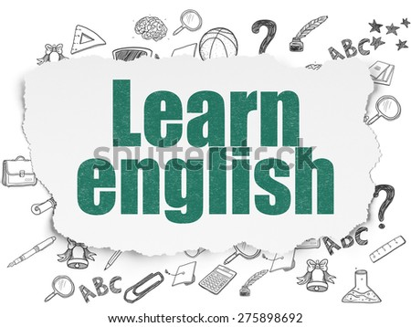 Education concept: Painted green text Learn English on Torn Paper background with  Hand Drawn Education Icons, 3d render - stock photo