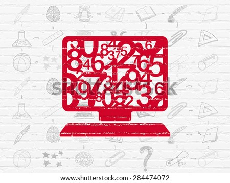 Education concept: Painted red Computer Pc icon on White Brick wall background with Scheme Of Hand Drawn Education Icons, 3d render - stock photo