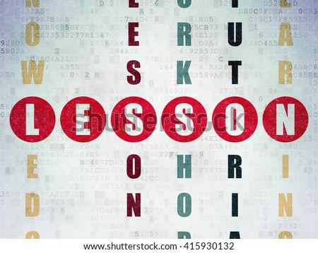 Education concept: Painted red word Lesson in solving Crossword Puzzle on Digital Data Paper background - stock photo