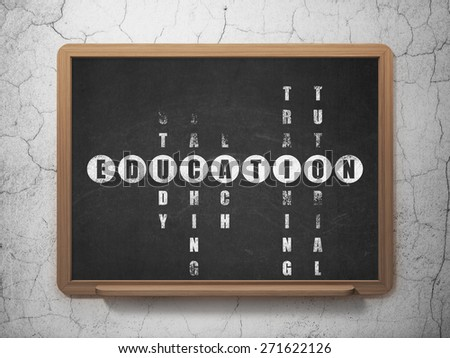 Education concept: Painted White word Education in solving Crossword Puzzle on School Board background, 3d render - stock photo