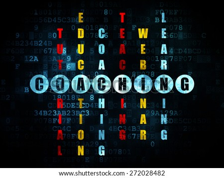 Education concept: Pixelated blue word Coaching in solving Crossword Puzzle on Digital background, 3d render - stock photo