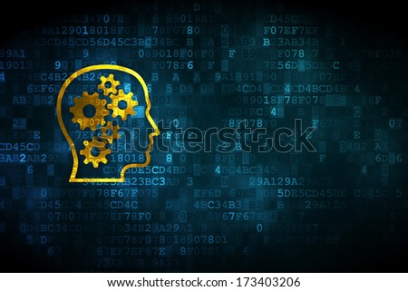 Education concept: pixelated Head With Gears icon on digital background, empty copyspace for card, text, advertising, 3d render
