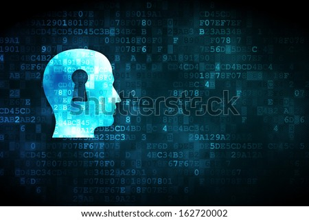 Education concept: pixelated Head With Keyhole icon on digital background, empty copyspace for card, text, advertising, 3d render