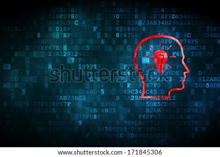 Education concept: pixelated Head With Lightbulb icon on digital background, empty copyspace for card, text, advertising, 3d render