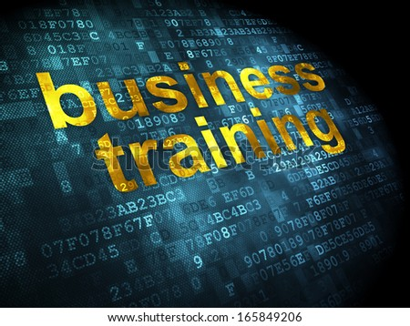 Education concept: pixelated words Business Training on digital background, 3d render - stock photo