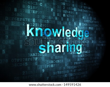 Education concept: pixelated words Knowledge Sharing on digital background, 3d render - stock photo