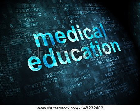 Education concept: pixelated words Medical Education on digital background, 3d render - stock photo