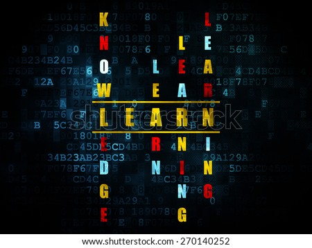 Education concept: Pixelated yellow word Learn in solving Crossword Puzzle on Digital background, 3d render - stock photo