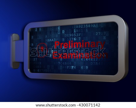 Education concept: Preliminary Examination and Head With Lightbulb on advertising billboard background, 3D rendering - stock photo