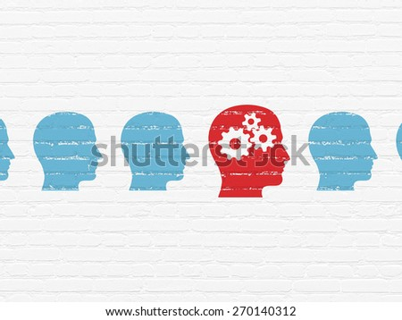 Education concept: row of Painted blue head icons around red head with gears icon on White Brick wall background, 3d render - stock photo