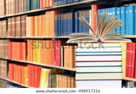 education concept with books and blurry background