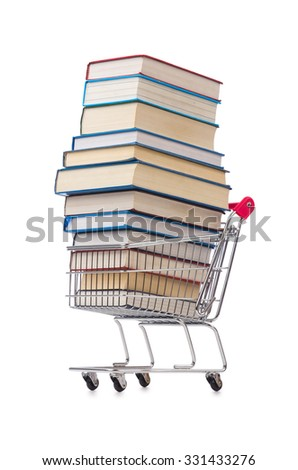 Education concept with books on white - stock photo