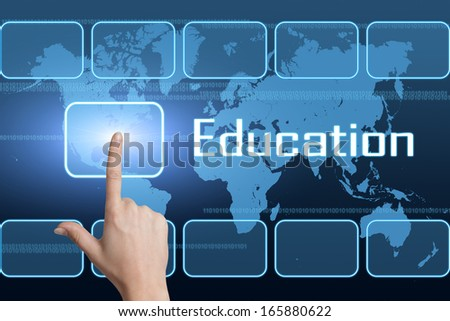 Education concept with interface and world map on blue background